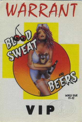 warrant 1991 92 blood sweat beers tour backstage pass ebay. Black Bedroom Furniture Sets. Home Design Ideas