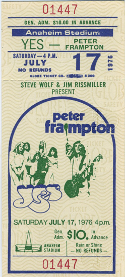YES 1976 Relayer U.S. Summer Tour Unused Concert Ticket PETER FRAMPTON