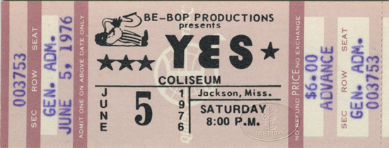 YES 1976 Relayer U.S. Summer Tour Unused Concert Ticket 6/5/76