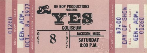 YES 1977 Going For The One Tour Unused Concert Ticket 10/8/77