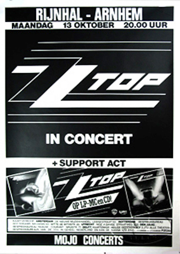 ZZ TOP 1986 AFTERBURNER TOUR CONCERT POSTER